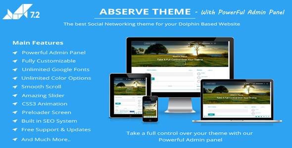 Abserve Theme With Powerful Admin Panel – Dolphin V7.3.2