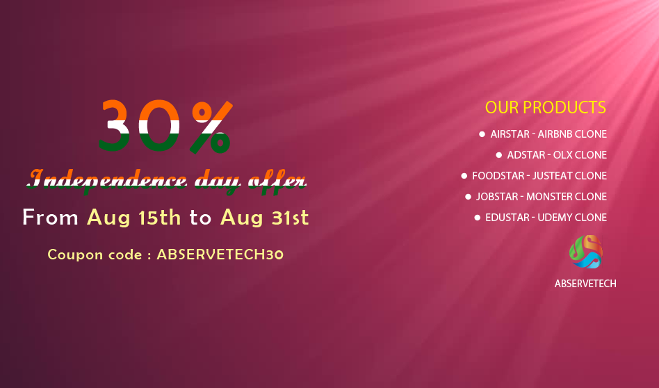 Abservetech Offers FLAT 30% discount for all Our Clone Scripts Products