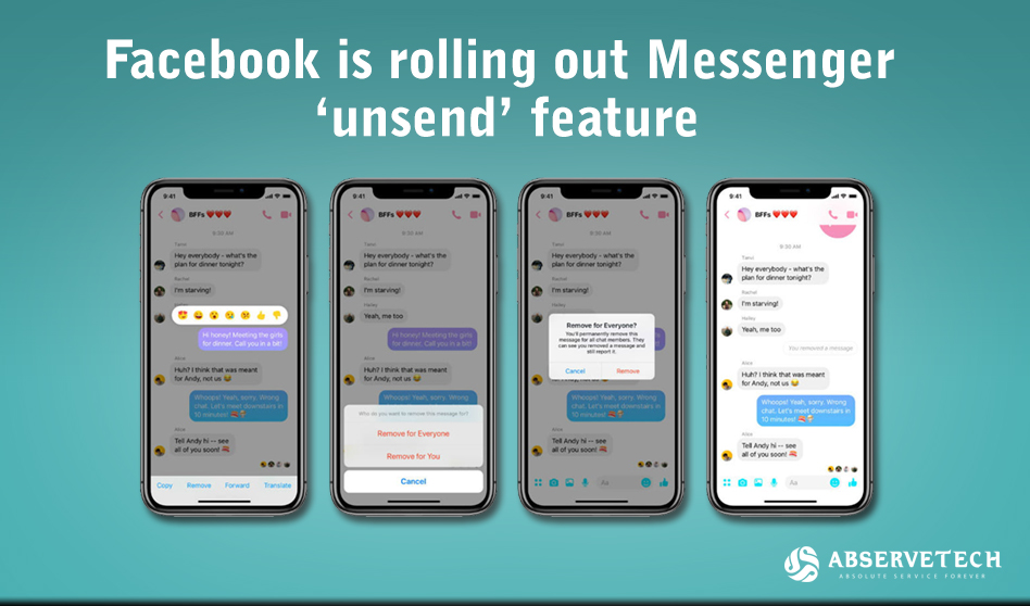 Facebook is rolling out Messenger 'Unsend' feature